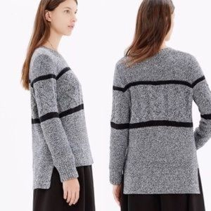 Madewell Navy Mixed Weave Stripe Pullover Sweater
